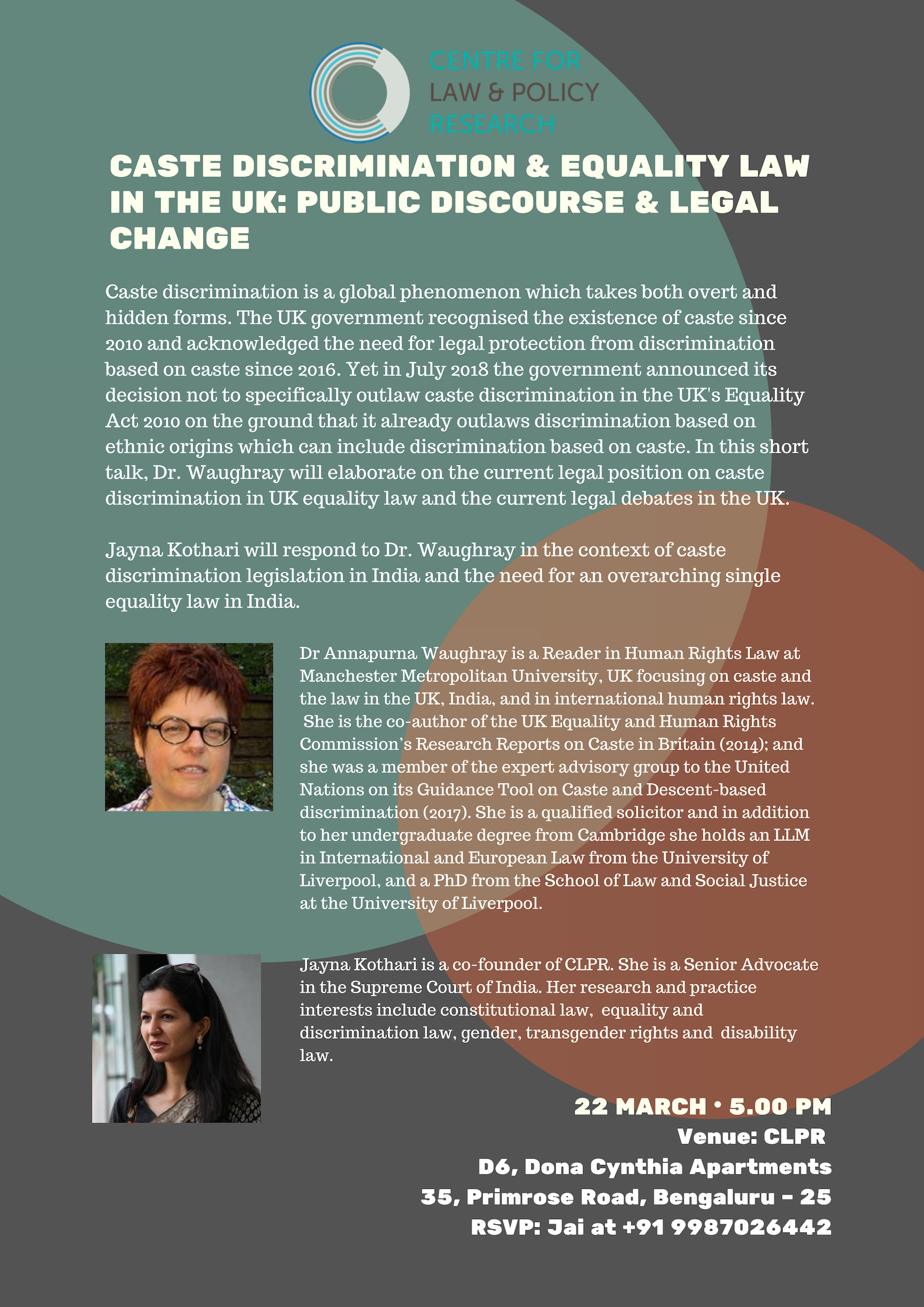 Poster for Dr Annapurna Waughray's lecture on Caste Discrimination & Equality Law in the UK. She is a Reader in Human Rights Law from MMU, UK focusing on caste discrimination. In this talk, she will be accompanied by Snr Adv Jayna Kothari.