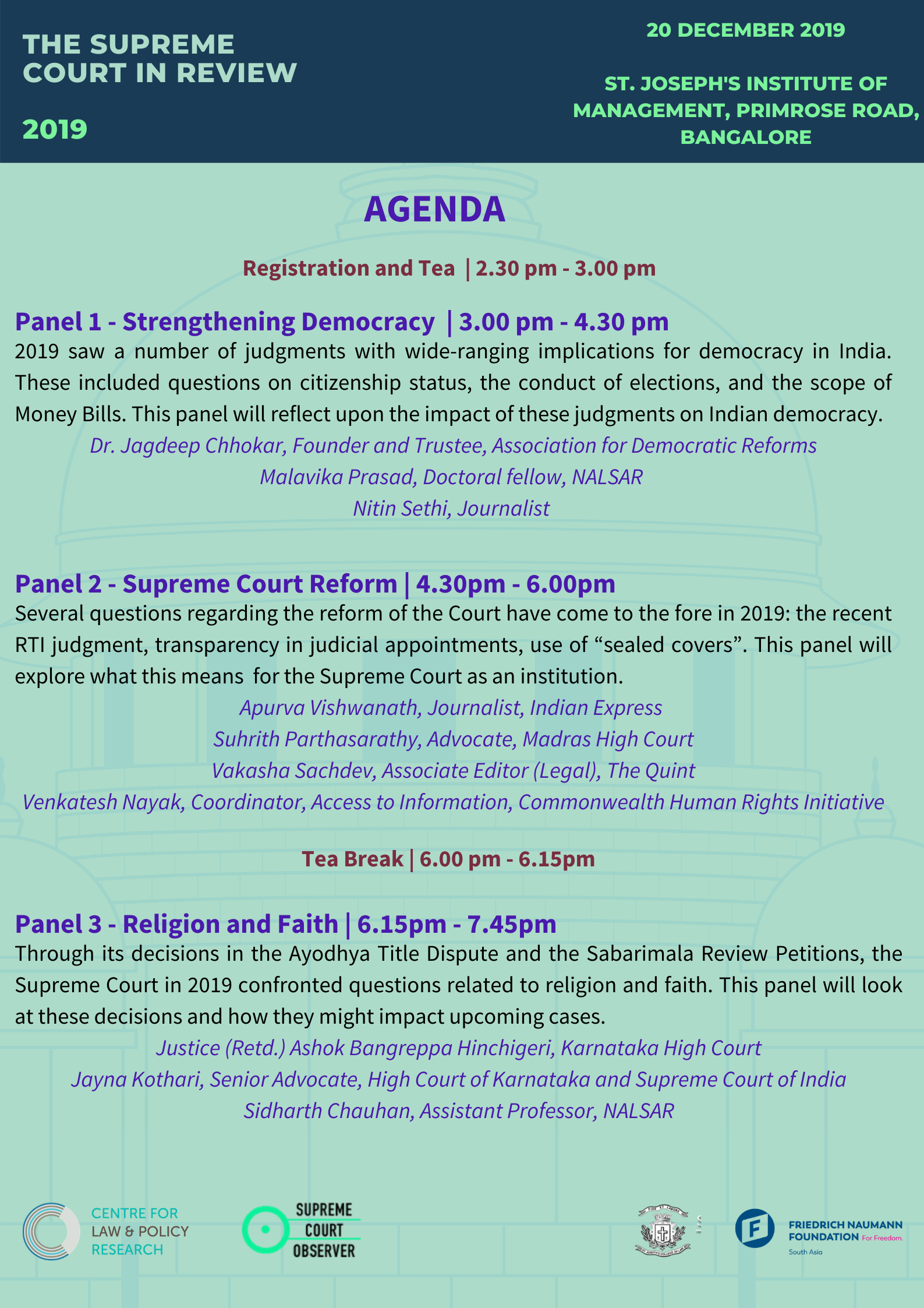 Supreme Court in Review 2019 - Agenda